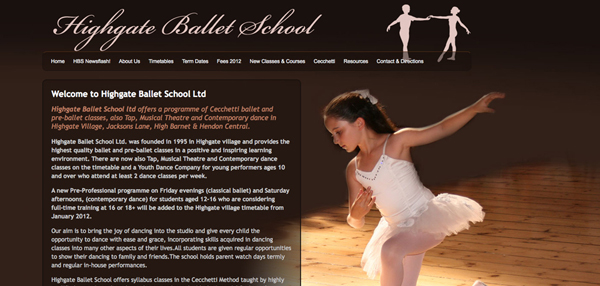 Highgate Ballet School website design