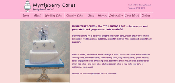 Myrtleberry Cakes website design